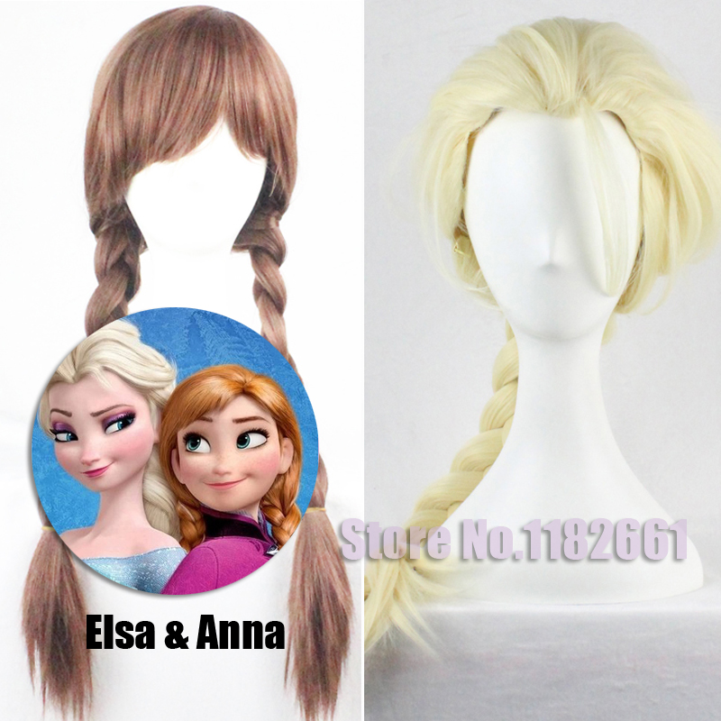 Hot Sale 2015 Elsa Anna Wig Ponytail Long Weaving Micro Braided Wigs Cosplay Adult Children Fluffy Cartoon Hair For Halloween<br><br>Aliexpress