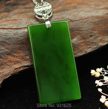 925 silver Gold Natural Green HeTian Jade Carved Chinese Safety Buckle Lucky Pendant Necklace + certificate Fashion Fine Jewelry