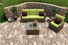 2017 Outdoor Rattan Furniture 3 Piece Modern Wicker Sofa Set, Kiwi Cushions