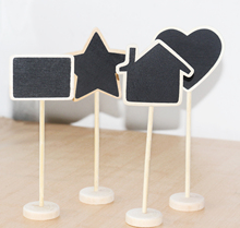5Pcs/lot Vintage Mini Wood Chalkboard Blackboard Wooden Place Card Holder Table Number for Wedding Event Party Valentine Day(China)