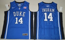 NIKE Duke Blue Devils Brandon Ingram 14 V Neck College Ice Hockey Jerseys White Size S,M,L,XL,2XL(China)