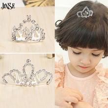 JINSE Mini Cute Crystal Rhinestone Princess Crown Hair Comb Birthday Party Tiaras For Girls Kids Hair Jewelry Accessories CR130