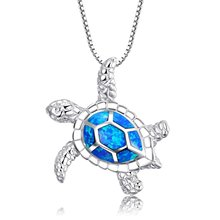 "[Health and Longevity] 925 Sterling Silver Created Blue Opal Sea Turtle Pendant Necklace 18"" Birthstone Jewelry for Women(Blue)(China)"