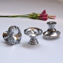 25mm glass crystal drawer shoe cabinet decoration box samll knobs pulls silver chrome Mini handles