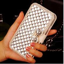 Luxury  Bling Crystal Diamond Rhinestone White PU Leather Case Cover For Huawei Honor 6X X6 BLN-L21 BLN-L22 BLN-L24