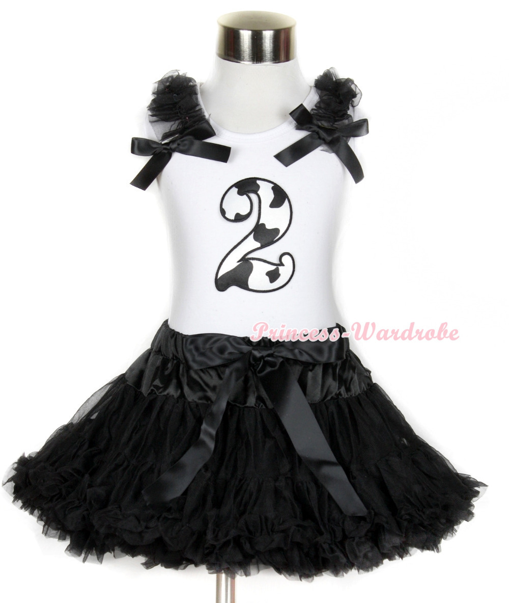 Halloween White Tank Top with 2nd Milk Cow Birthday Number Print with Black Ruffles &amp; Black Bow &amp; Black Pettiskirt MAMG682<br>