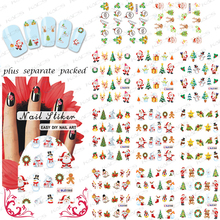 2015 NEW 50PCS/lot  BLE1577-1587 Christmas nail sticker and new year Nail Art Slide Tattoo Sticker Water Transfer