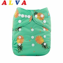 New Arrival! 2017 Alvababy One Size Fits All Cloth Diaper Pocket Double Row Snaps Cloth Nappy with Microfiber Insert(China)