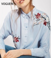 VOGUE!N New Womens Ladies Floral Embroidered 3/4 Sleeve Button Down Shirt Blouse Tops Size SML Wholesale