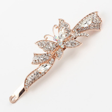 Hairpin butterfly insect hair clip hair accessories women rhinestones crystal pink purple golden alloy new brand hair jewelry