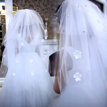 110cm Long Four 4 Layers !  2017 Wholesale Flower Hot Sale ! Bridal Veil Wedding Veils BRIDAL ACCESORIES Flower VEIL OV9993