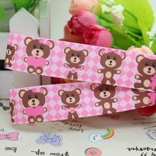 7/8'' Free shipping valentine bear plaid printed grosgrain ribbon hairbow diy party decoration wholesale OEM 22mm P2280