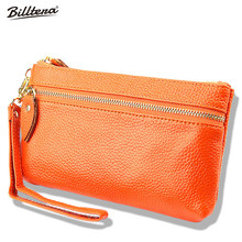 Factory Wholesale Leather Coin Purse Bulk Candy Color Lady Zipper Wrist Strap Wallet Mobile Phone Bag(China)
