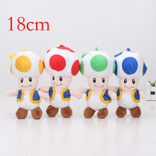 100pcs/lot 18cm Super MARIO Bros Mushroom Toad Plush Toy Doll Pendants Hook Kid Gifts 4colors