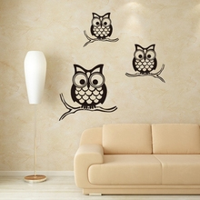 Black Owl Wall Decals PVC Wall Sticker Poster for Home Decorations Removable for Kids Room 57x58cm CP0391(China)
