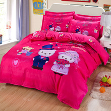 Wedding red Hello Kitty Bedding Set Children Polyester Cotton Bed sheets Duvet Cover Pillowcase 3-4pcs Twin full Queen king size