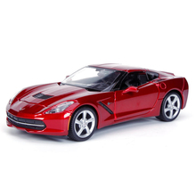 Diecast Model Corvette C7 2014 Red 1:24 Alloy Car Metal Racing Vehicle Play Collectible Models Sport Cars toys For Gift