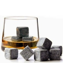 Flannelette Bag Icewine Stone Black 9 Pcs/Set Natural Stones Cooler Wedding Decoration Christmas Bar Whiskey Stones(China)