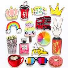 Badges Backpack Cartoon Crown Stereoscopic Fruit Perfume Popcorn Fridge Magnet Refrigerator Lovely Magnets Home Decoration