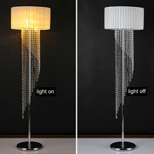 foot switch button switch Floor Lamp E14 metal cloth fabric crystal brilliant floor light wedding glass Floor standing Light(China)