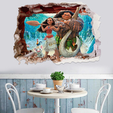 50*70cm 3d Wall Stickers For Kids Room Effect Moana Through  Cartoon Movie Vaiana Wall Decals Pvc Moana Maui Poster Diy