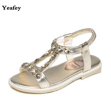 Yeafey 2017 Beach Shoes Summer Children Sandals Silver Princess Girl Gladiator Party Shoes Child Rhinestone Sandalias Kids