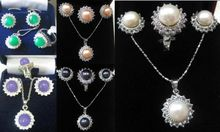 Free shipping 295 5 color-white/pink/black pearl/purple/green   ring pendant earrings set can choose
