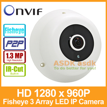 Fisheye HD 1280 x 960P 1.3MP Panoramic 3 Array LED IR IP Camera Night Vision Security ONVIF P2P IP CCTV Cam System with IR-Cut