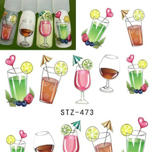 1 Sheet Water Transfer Nail Art Sticker Tattoo Decals Fruit Juice Drinks Pattern Nail Tips Stickers Manicure Decor BESTZ473