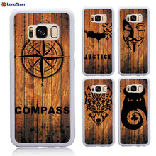 For Samsung S8 Case Wood Style Compass Wolf Head Bible Print Soft TPU + Hard PC Back Strong Guard Cover Case for Galaxy S8 Plus