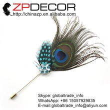 Leading Supplier ZPDECOR Cheap Sale New Arrival Handcraft Peacock Feather With Crystal Brooch Pin