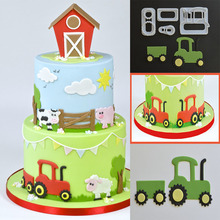 4PCS/SET Tractor Cutters Plastic Cake Decorating Mold Sugarcraft Mold Cookie Cutting
