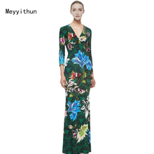 New Arrival Elegant Green Printed Stretch Jersey V-neck Slim Maxi Dress Long Dress 151209EP602c