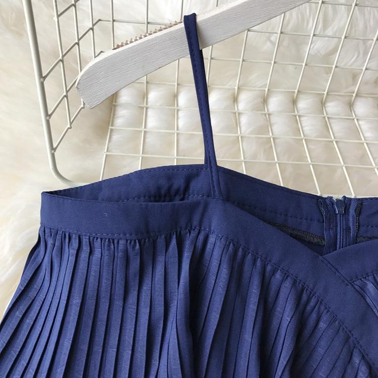 2019 Spring Women Chiffon Pleated Braces Sling Spaghetti Strap Goffer Long Dress Ladies Ruffles Empire Drapped Swing Slip Dress 158
