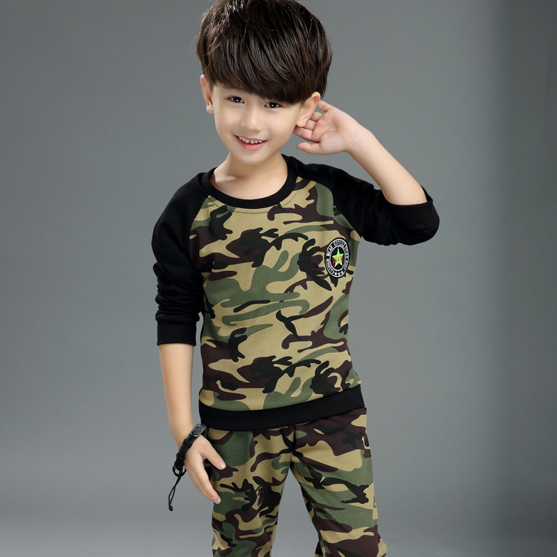 Children  Sports Clothing Suits Sets Kids Camouflage Cuhk Two-piece Sportswear Tracksuits Graffiti Teenage Clothing<br>