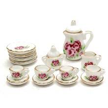1pcs Flower Porcelain Ceramic Dollhouse Miniature Coffee Tea Cup Saucer Set Buliding Model Doll Accessories Suit For Kitchen
