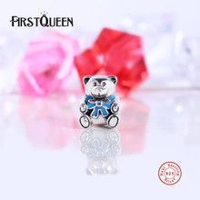 FirstQueen Authentic 925 Sterling Silver and Blue Enamel Bow Boy Teddy Bear Charm Fit original Bracelets Jewelry Accessories E