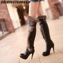 New White Black beige Knee High Boots Winter Boots Women shoes Sexy high heel Motorcycle Boots women Snow Boots Big Size 34-43