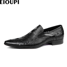 EIOUPI new design top real crocodile grain leather mens formal business shoe men dress breathable shoes e125-123