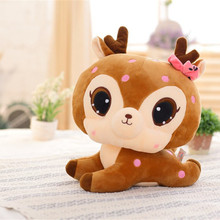 Plush Big eyes sika deer soft Giraffe Animal toys Kawaii stuffed dolls for kid birthday infant  gift brinquedos