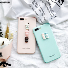 GIMFUN Fresh 3D Coffee Cup Milk Bottle Case for Iphone 7 7plus  6 6s 6plus Cute Cartoon Pink Hard Pc Case Scrub Back Cover