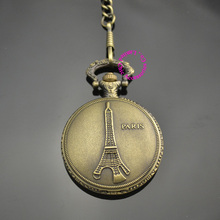 low price good quality retro vintage bronze man father classic men gift eiffel tower quartz pocket watch with short waist chain