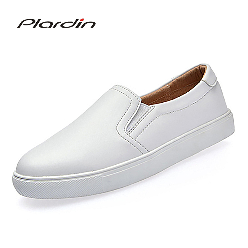 plardin 2018 Women Leisure Concise Four seasons shoes woman genuine leather Rivet Elastic band sneaker Flats Solid color shoes<br>