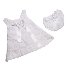 Baptism Baby Clothes ,White Lace Little Girls Clothing Set ,Lace Pattern Baby Swing Top Set With Bow ,2T toddler clothes