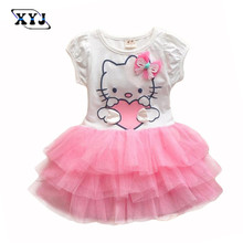 2017 Aile Rabbit Ball Gown Dress Puff Sleeve Ropa Cute Mini TUTU Dress Baby Girls Clothing For Toddler Summer Clothes Kitty Cat(China)