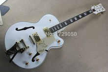 wholesale White Gretsch Falcon 6120 Semi Hollow Body WHITE Jazz 6 Strings Electric Guitar With Bigsby Tremolo Stratocaster(China)