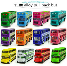 Hot sale !1  : 80 Alloy double-decker bus,Open-air buses, London buses,pull back model car toy,Children's favorite,Free Shipping