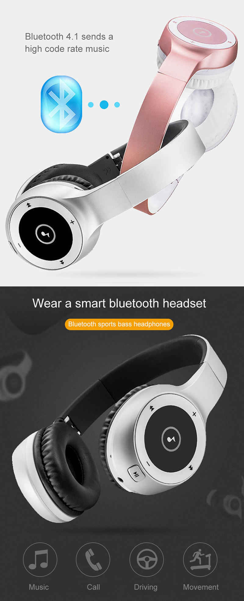 SltcrPasion Wireless Headset Gamer Sem Fio Audifonos Bluetooth Headphone Sport Auriculares Bluetooth AUX Fone de Ouvido Kulaklik