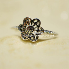 NEW 925 Sterling Silver Floral Daisy Lace Rings For Women Flower Engagement Ring Jewelry Making R057(China)