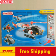 8-in-1 Large Science&education toy for Pupil Rescue Team Police car airfighter plane Helicopter assembly puzzle 2 figures DHL(China)